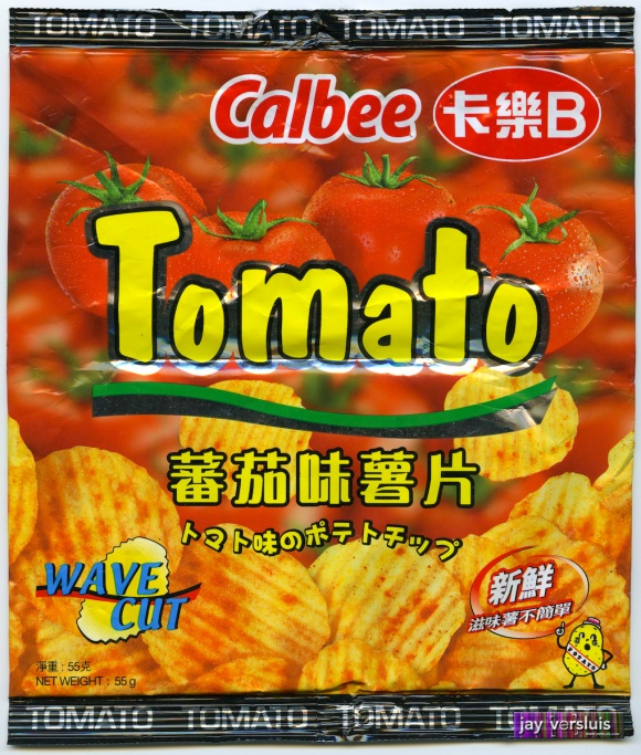 Calbee Tomato Wave Cut Chips - front (2008)