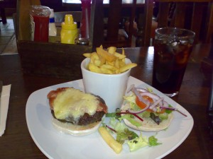 Burger and Chips at The Earl of Camden