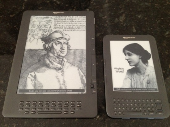 Spot the difference: Kindle DX (left) and my trusty Kindle Keyboard (right)