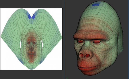 Example of UV Mapping: Left is the flat stretched out 2D image, which is wrapped around the 3D object on the right. Each point and face in 2D corresponds to a counterpart in 3D space.