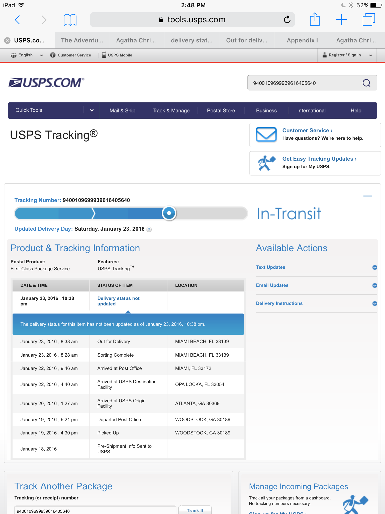 Usps express tracking not updating 2012