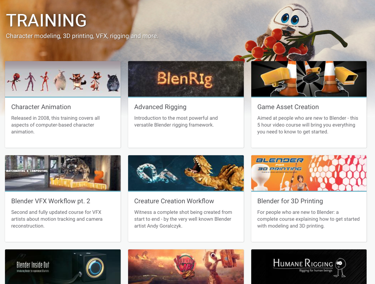 Some of the Training Videos in The Blender Cloud
